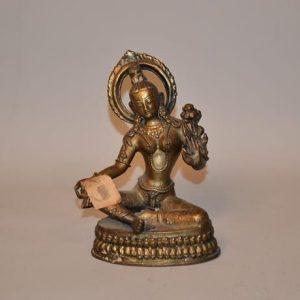 Statuette bouddha en bronze doré - représentant la divinité bouddhiste Tara
