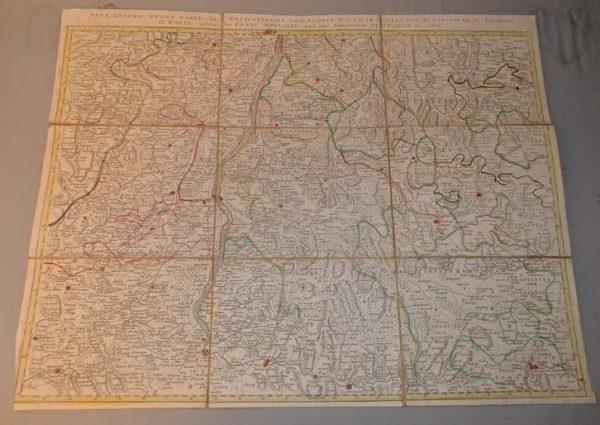 Carte militaire Allemande du détroit du Rhin qui montre l'Alsace, le Brisgau et le sud de la Souabe