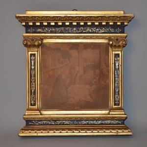 Cadre dit à tabernacle en bois laqué bleu et doré - Italie, XIXe siècle