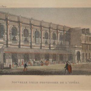 Nouvelle salle provisoire de l'opéra (Paris) - Gravure en couleur encadré