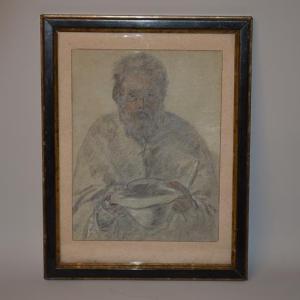 Pierre Laplanche (1803–1882) - Dessin Vielle homme mendiant - Avignon