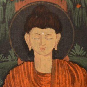 Tableau - Bouddha en méditation peint sur tissu