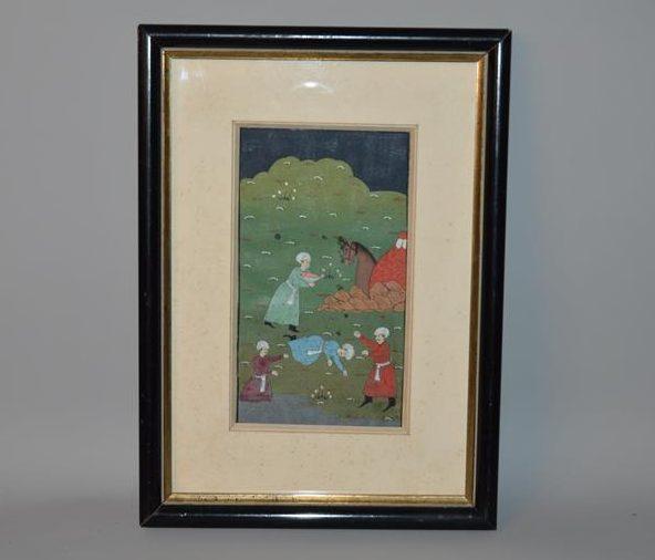 Peinture Persane encadrée, représentant une scène de de campement