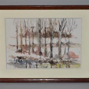 Tableau paysage sous bois de Beaumontel en Normandie - 1907