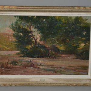 Tableau - peinture - Huile sur toile - Homme à la brouette