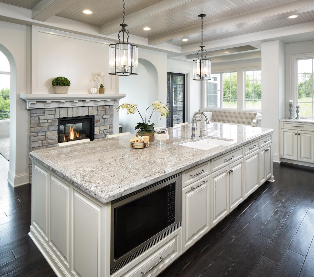 Taupe White Granite Countertops in Kitchen  CD Granite