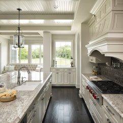 White Kitchen Island With Butcher Block Top Shoes For Work In The Taupe Granite Countertops | C&d ...