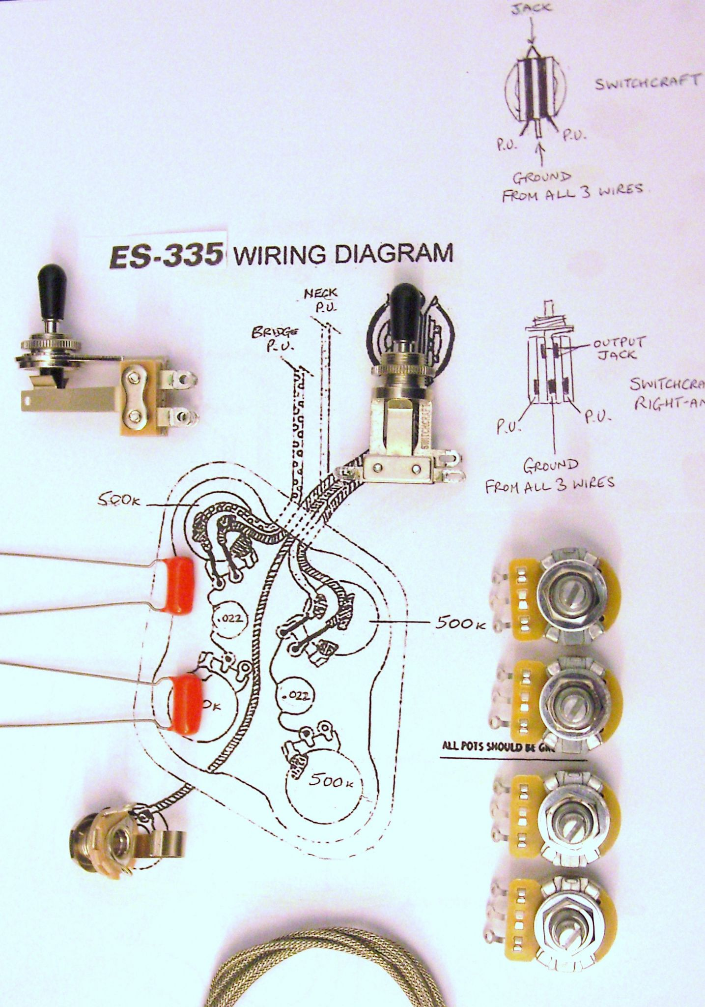 hight resolution of wiring kit for 335 with right angle switchcraft toggle switch wiring kit for 335 with right