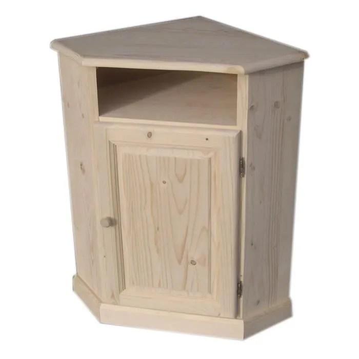 meuble d angle en bois brut cdiscount