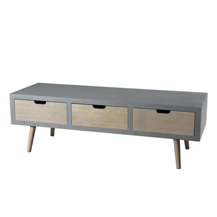 meuble tv scandinave gris effet beton brillant et
