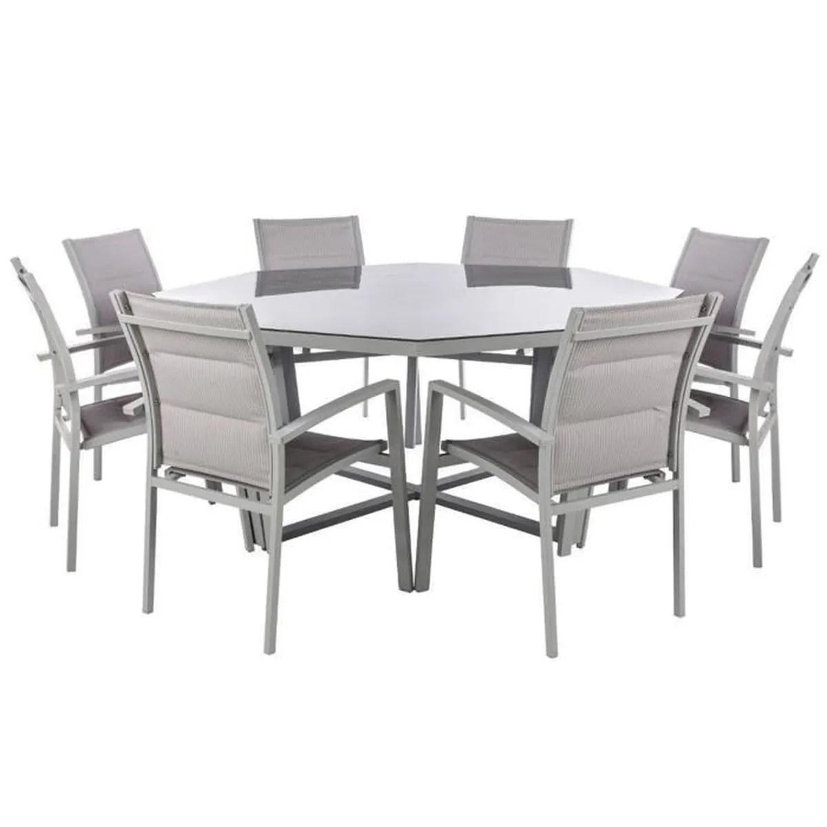 table octogonale en aluminium et verre