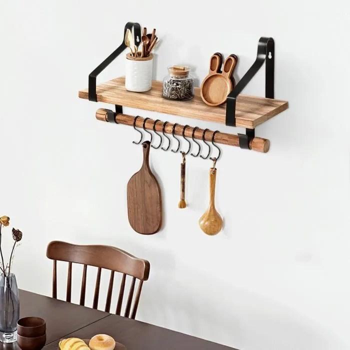 costway etagere murale en bois et metal porte epices pour cuisine avec 8 crochets etagere pour salle de bain bureau chambre salon