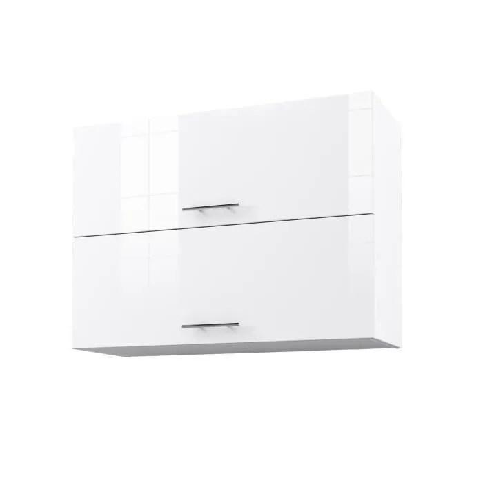 obi caisson haut de cuisine avec 2 portes l 80 cm blanc et blanc laque brillant