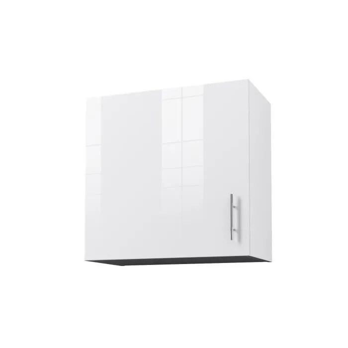 obi caisson haut de cuisine avec 1 porte l 60 cm blanc et blanc laque brillant