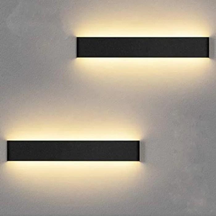 applique murale rectangulaire noire lot de 2 inter