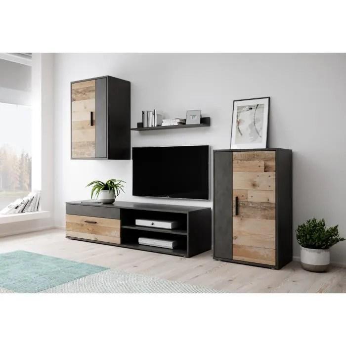 ensemble meuble tv noir et bois