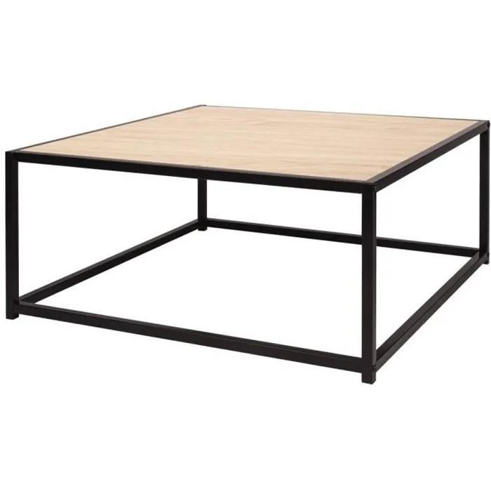 minsk table basse metal et bois l 80 x p 80 x h 34 cm