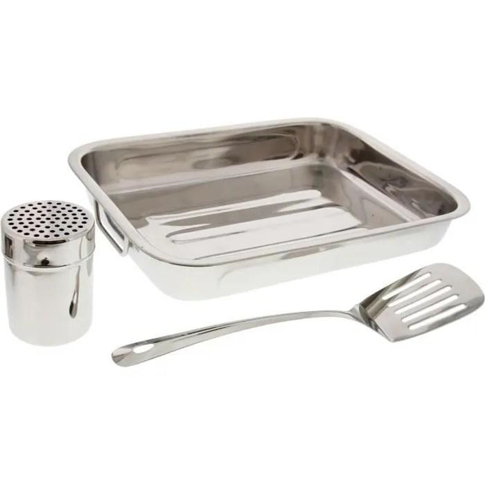 pradel excellence plat a lasagnes inox avec spatule et saupoudreur acier inoxydable
