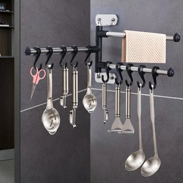 super barre mural cuisine 10 crochet support rangement pour ustensiles spatule casserole rotative sans poincon