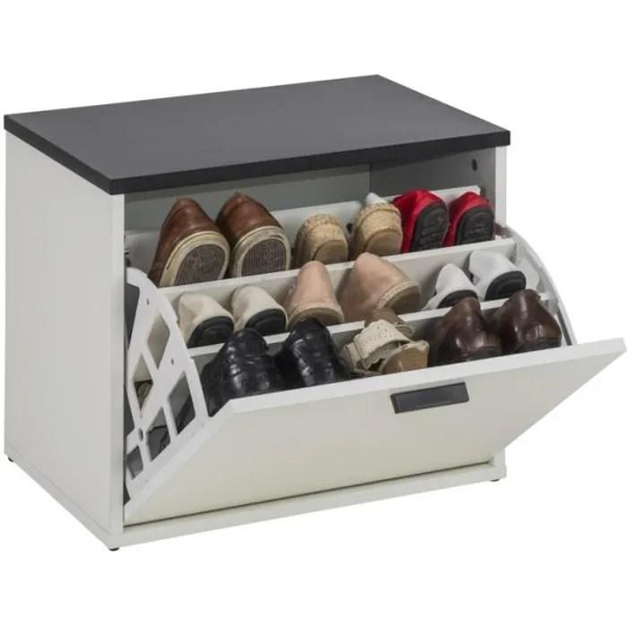 banc coffre a chaussures 9 paires coloris blanc simmob rangement sejour