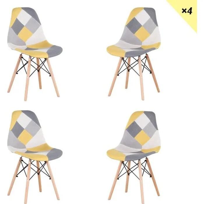 egoonm lot de 4 chaises patchwork scandinave jaune clair