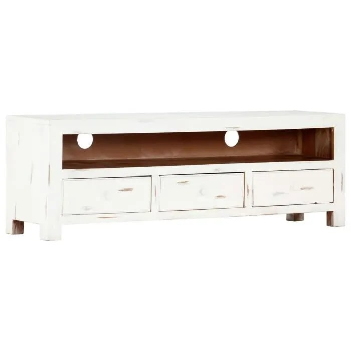 meuble tv meuble hifi style industriel blanc 120x
