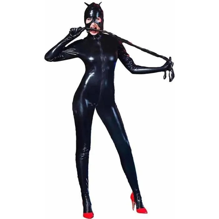 sexy zipper ouvert entrejambe catwomen catsuit spa