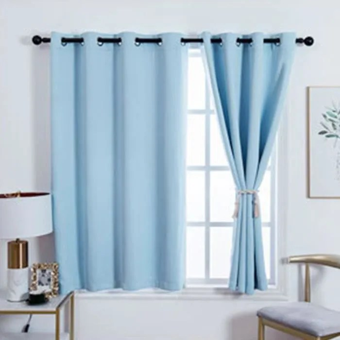 double rideaux occultant a œillets effet soie 140x180cm bleu ciel couleur unie rideaux thermique isolant pour chambre salon