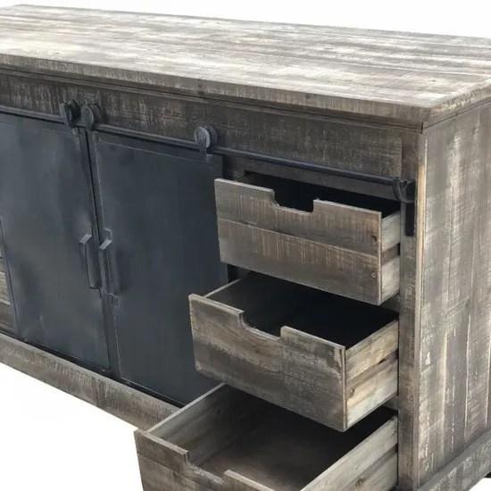 enfilade bahut buffet portes coulissantes tiroirs fer roulettes 160 cm 14000 enfilade
