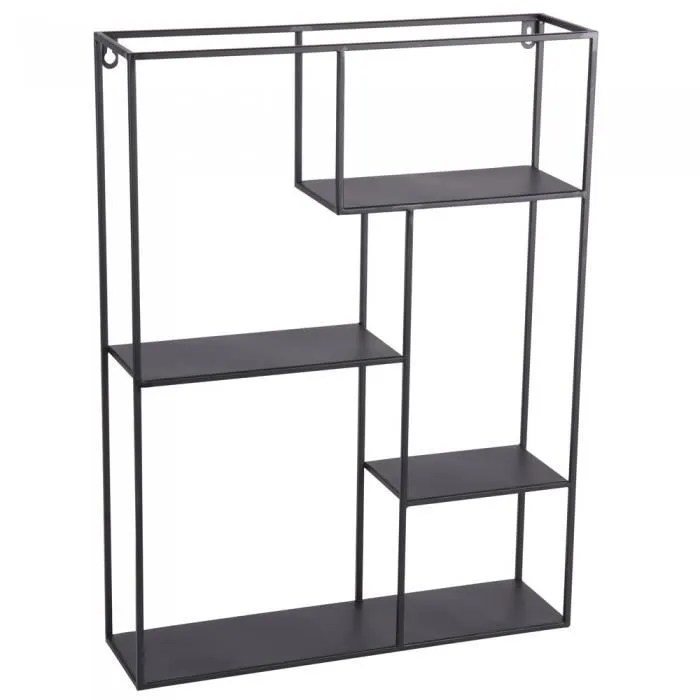 etagere murale metal rectangle 60x45 cm table passion noir