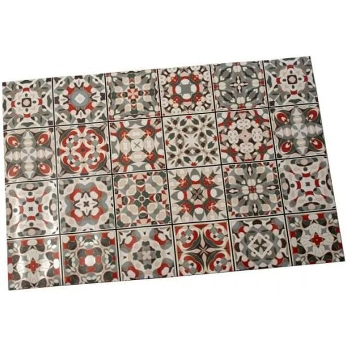 tapis de cuisine multicolore motif carreaux de cim