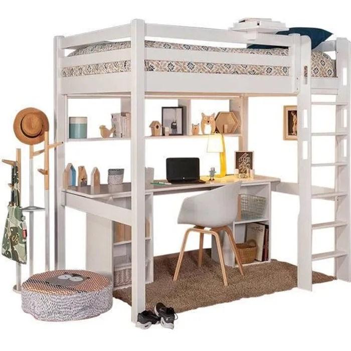lit mezzanine avec bureau orphee blanc 90x190 cm