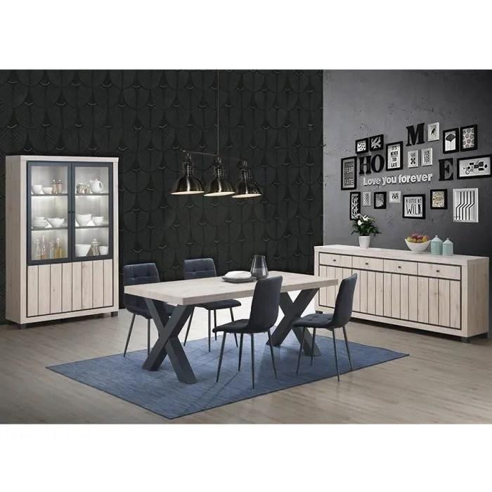 salle a manger complete couleur bois naturel eurydice beige l 190 x p 95 x h 76 cm