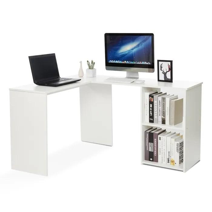 bureau d angle avec rangement 2 etageres bureau informatique bureau d ordinateur bois blanc mondeer