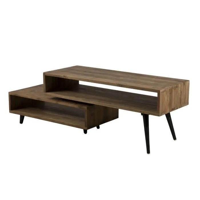 meuble tv rotatif industriel en bois teck l 105