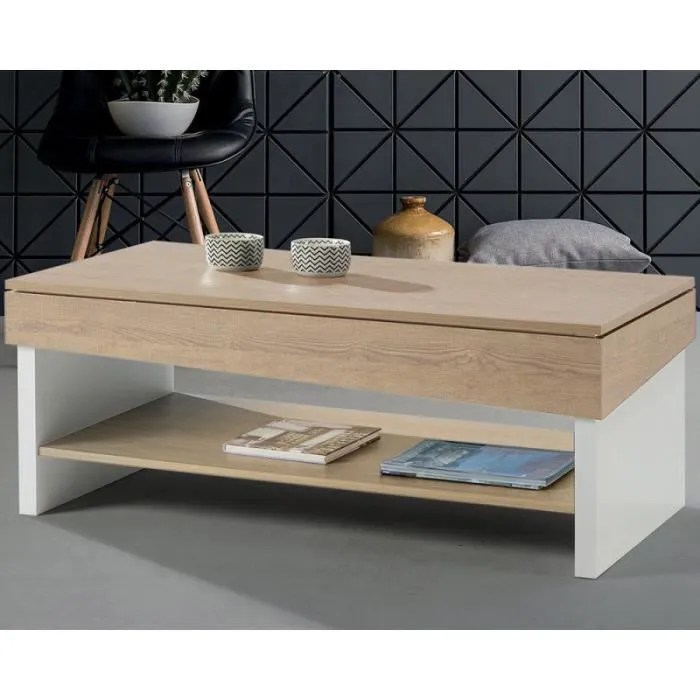 table basse relevable chene blond bois blanc ber