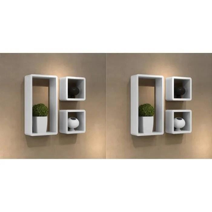 etagere cube blanc laque