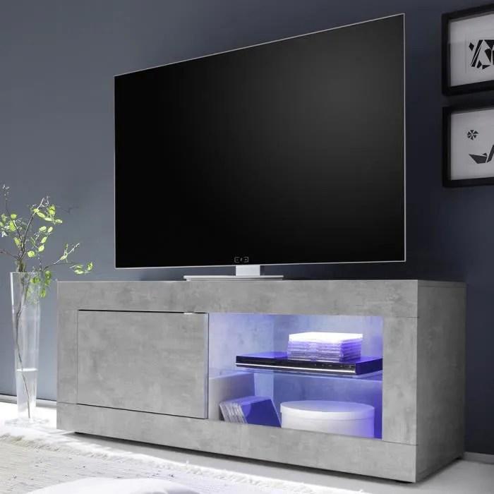 meuble tele 140 cm effet beton gris clair design f