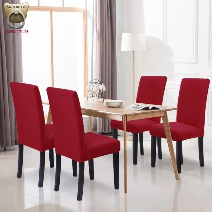 housse de chaise mariage extensible rouge 4pcs stretch housse bi elastique moderne housse decor couverture de chaise haute pas cher
