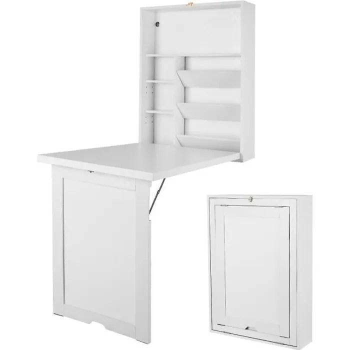 costway table mural rabattable bureau pliable gain de place avec ardoise de rangement etagere integree en mdf blanc 82 x 16 x 60 cm