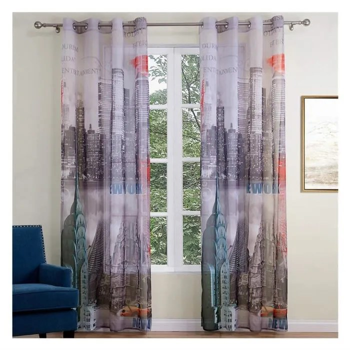 motif new york city imprime rideau