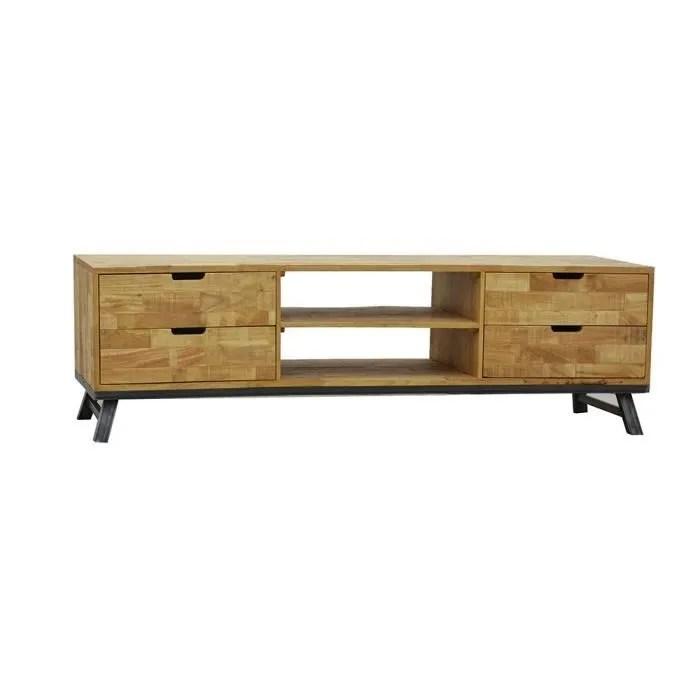 industriel meuble tv long 4 tiroirs 2 niches fer