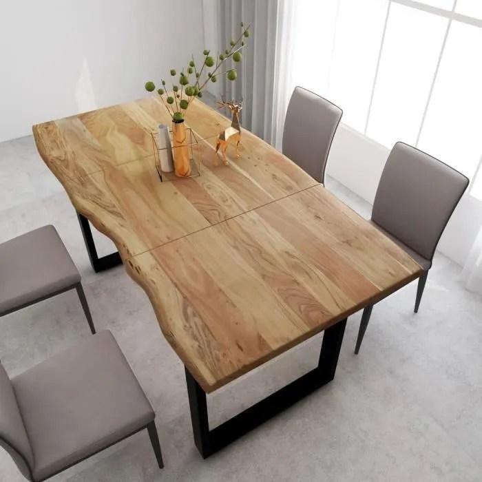 table de salle a manger de 6 a 8 personnes style industriel et rustique bois d acacia massif pieds en acier 180x90x76 cm