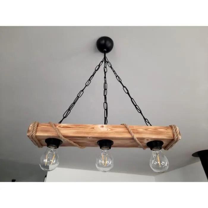 solenzo lustre suspension en bois et corde style industriel rustique campagne chic 3 ampoules e27