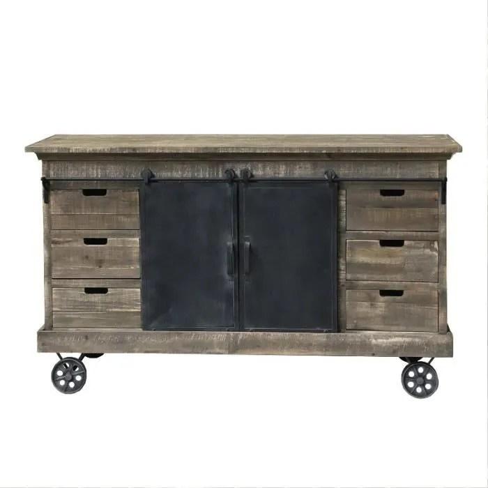 meuble industriel campagne avec roulettes bahut en