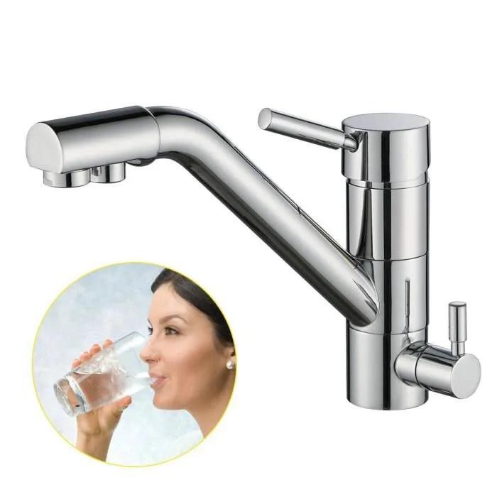 robinet de cuisine a eau filtre osmose mitigeur pour evier bec rotatif pivotant double commande chrome compatible