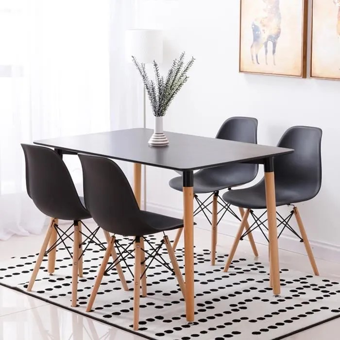design scandinave table a manger noir