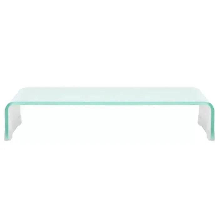 meuble tv support etagere en verre pour rehausseu
