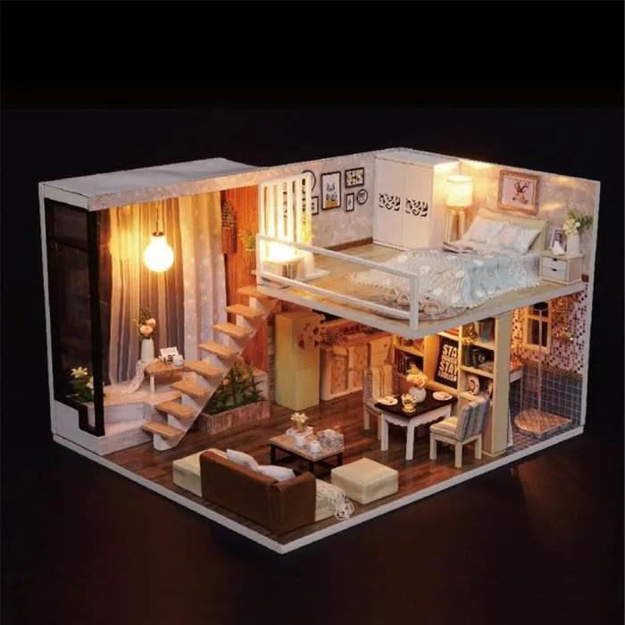 maison de bricolage en bois 3d de maison de poupee miniature faite main avec le cadeau festif leger hjn3402