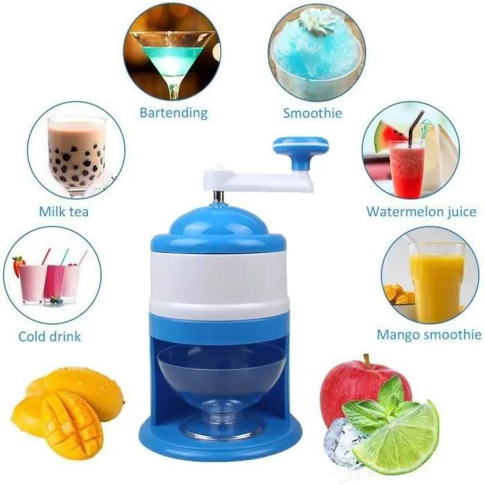 broyeur a glace machine glacons manuel cocktail bar manuelle de machine a glace de secousse de menage de broyeur de glace bleu